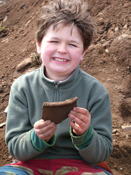 Large Neolithic pottery sherd found at Carwood Excavations by one of our Young Archaeologists Club members.