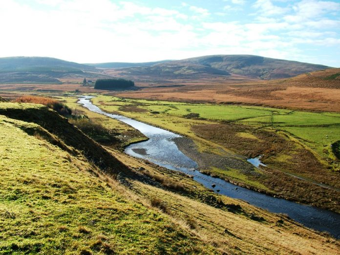 Daer Valley with river in foreground
