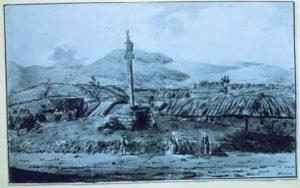 Biggar Cross, pre 1800, note the thatch roofs.