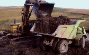 Mechanical digger and dumper truck working on the M74 project excavation