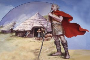 David Fisher painting of Bronze age village