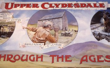 David Fisher painting – three panels of Clydesdale through the ages